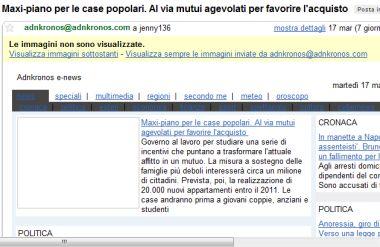 Anteprima menu blu su Gmail