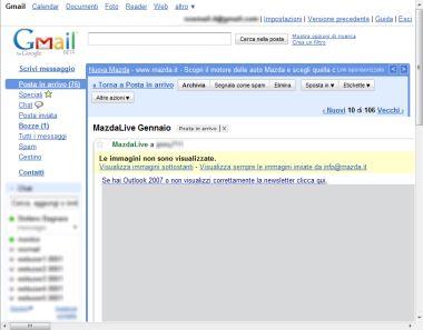 newsletter Mazda su Gmail con blocco immagini