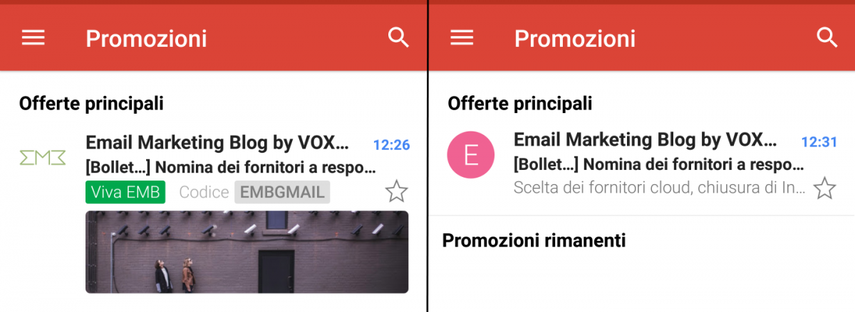 Gmail Promotion Cards